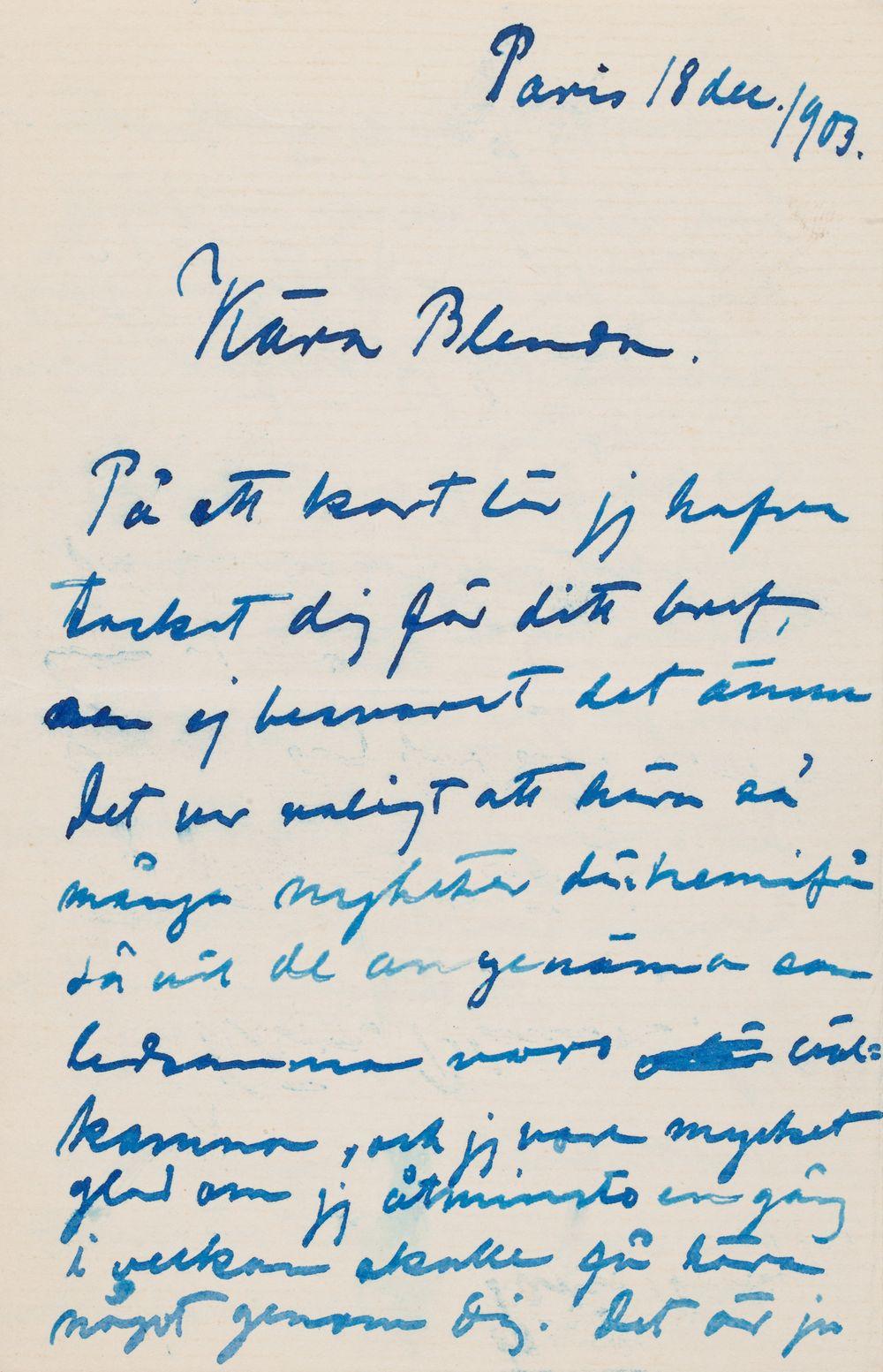 Hugo Simbergin kirje Blenda Simbergille 18.12.1903