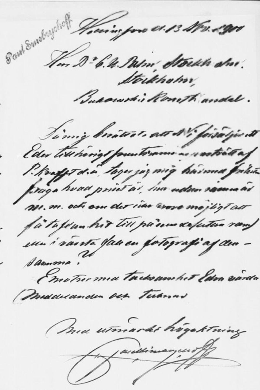 Paul Sinebrychoffin kirje C. U. Palmille 13.11.1900