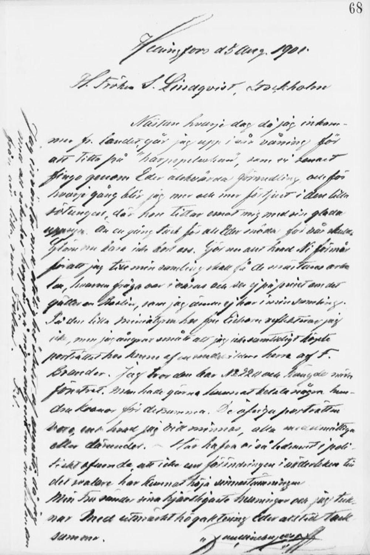 Paul Sinebrychoffin kirje Sigrid Lindqvistille 5.8.1901