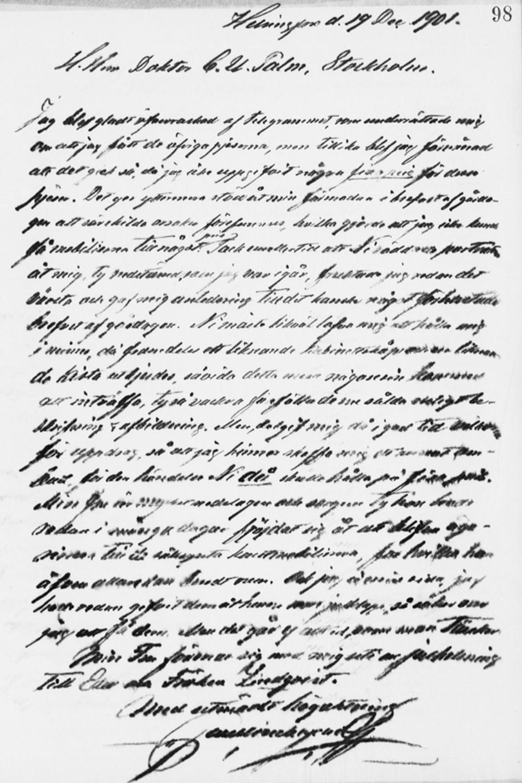 Paul Sinebrychoffin kirje Carl Ulrik Palmille 19.12.1901