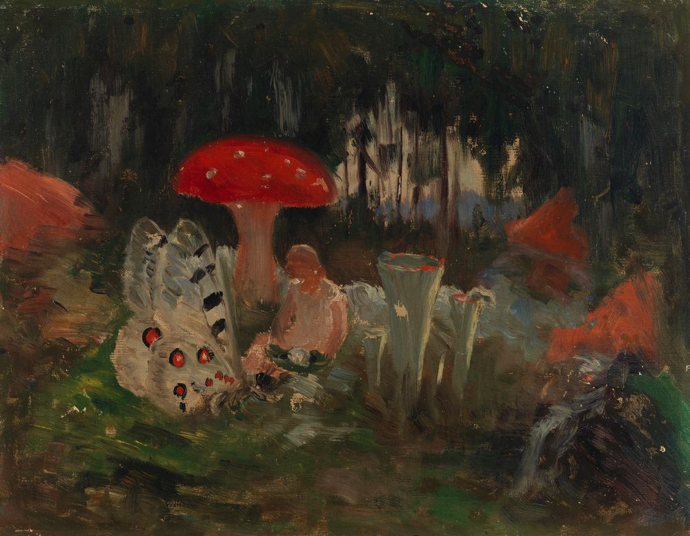 Prinsessa ja perhonen kärpässienen alla, luonnos teokseen Sadun prinsessa