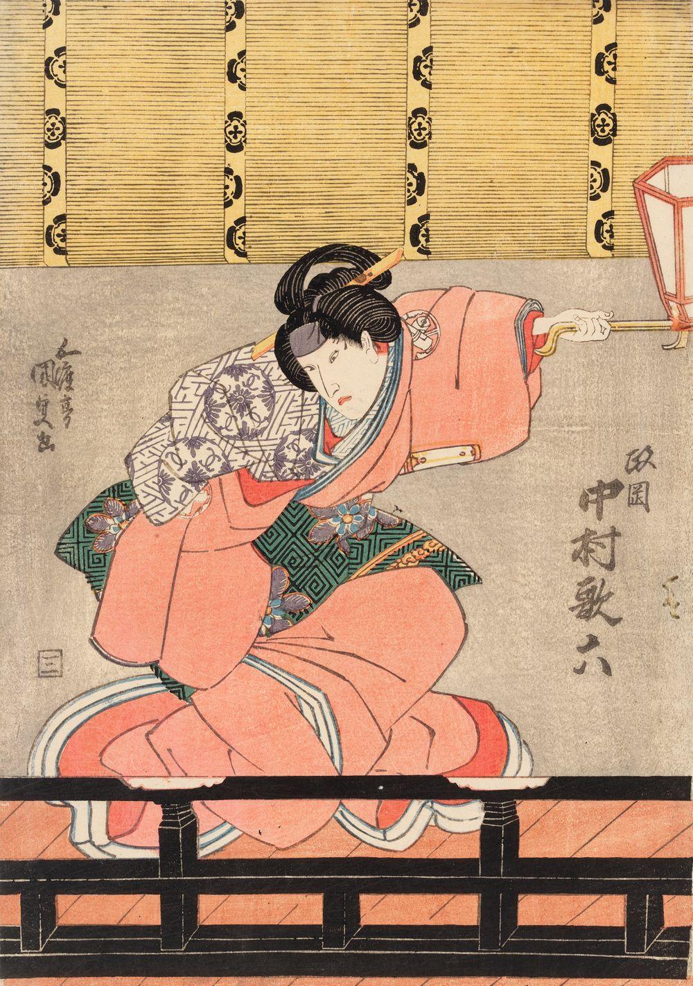 Näyttelijä Nakamura Utaroku lapsenhoitaja Masaokan roolissa