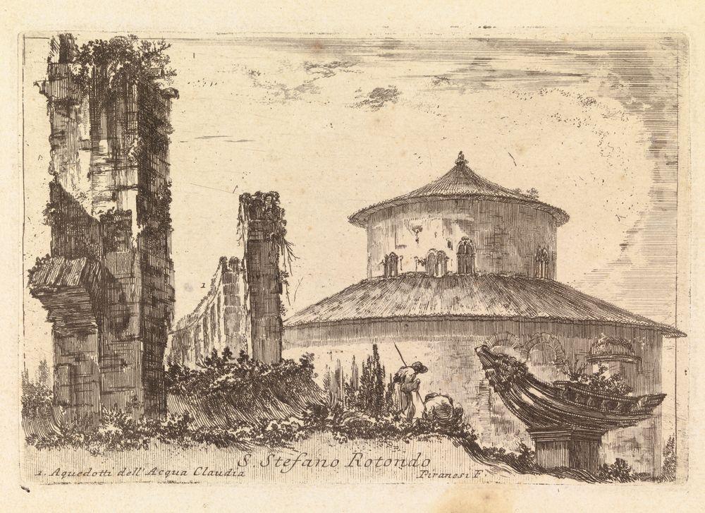 S. Stefano Rotondo l. Aquedotti dell` Acqua Claudia (San Stefano Rotondo-kirkko ja Acqua Claudian raunioita Roomassa)