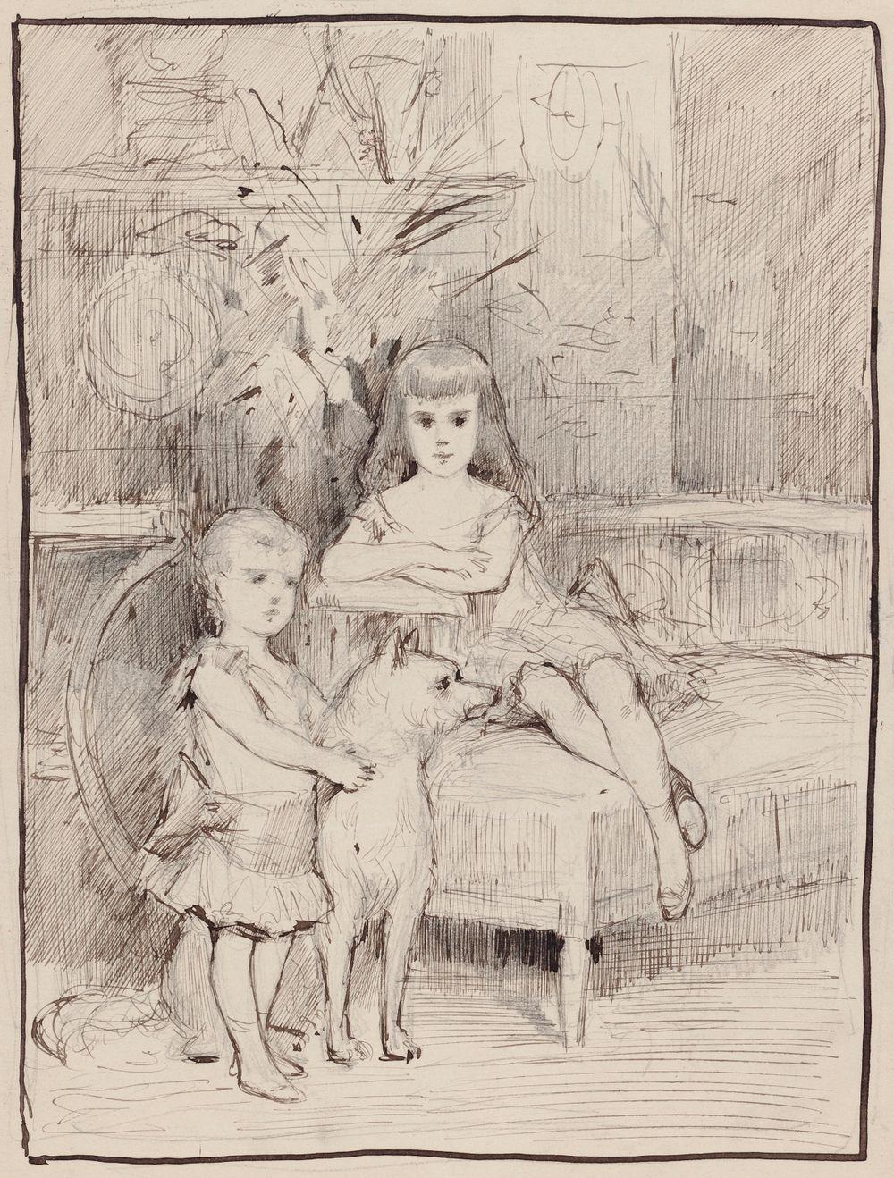 Aleksanteri III:n lapset Mikael ja Xenia, muotokuvaharjoitelma