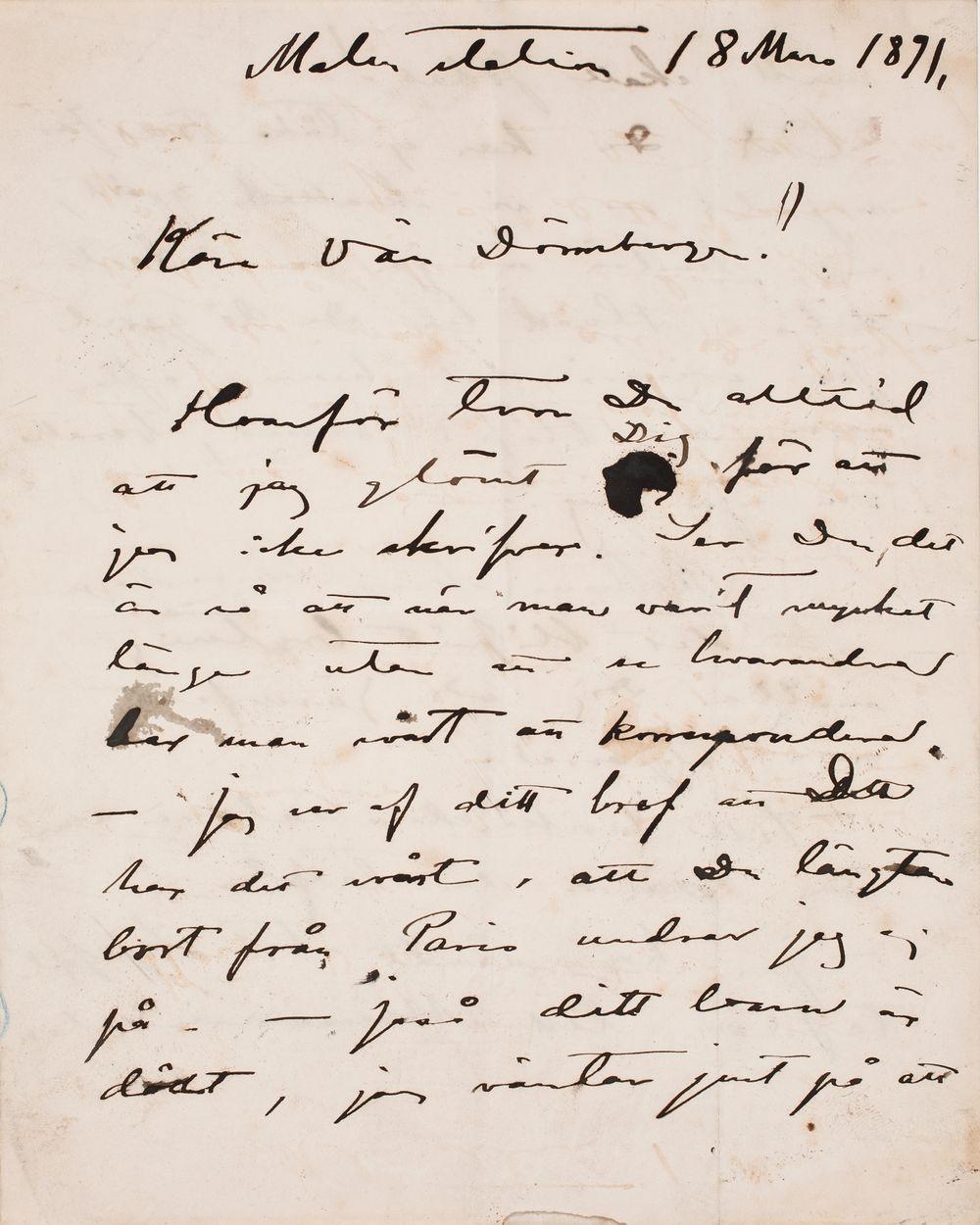 Akseli Gallen-Kallelan kirje Carl Dørnbergerille 18.3.1891