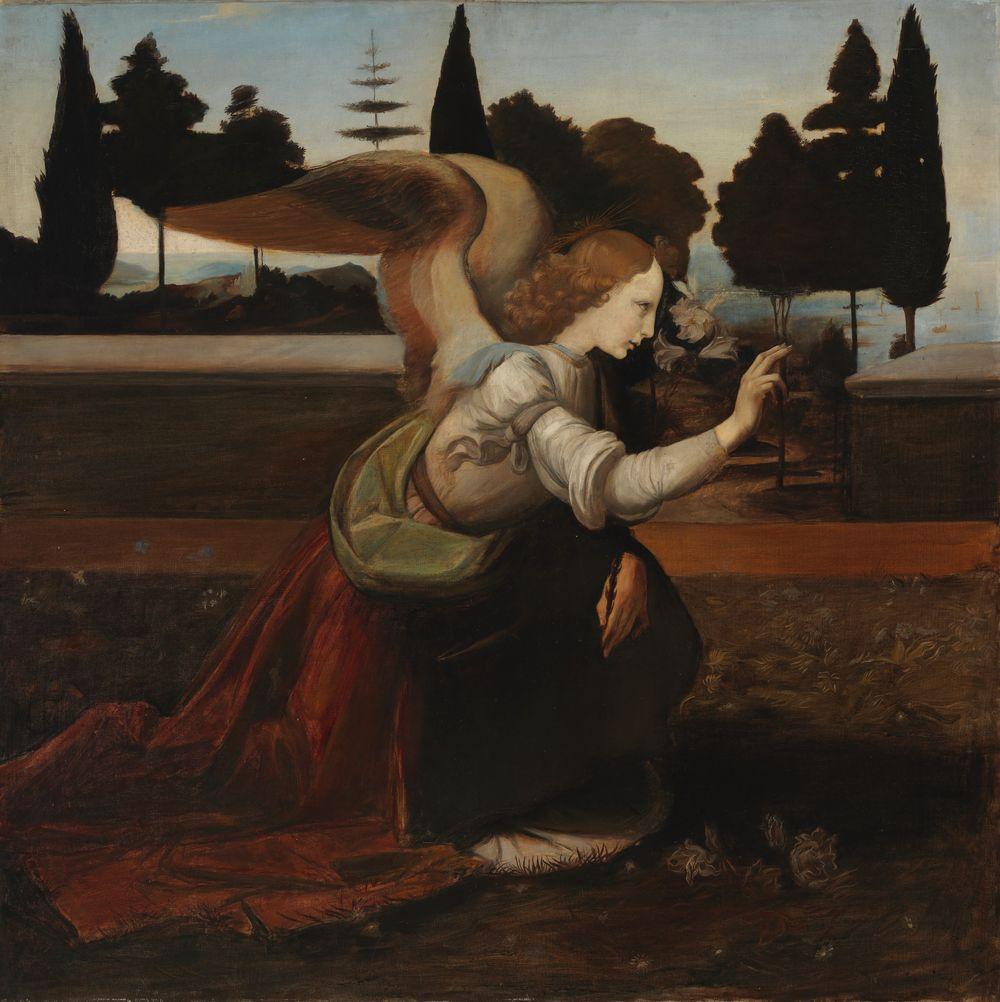 Enkeli, kopio Leonardo da Vincin Marian ilmestys-maalauksen mukaan, osa