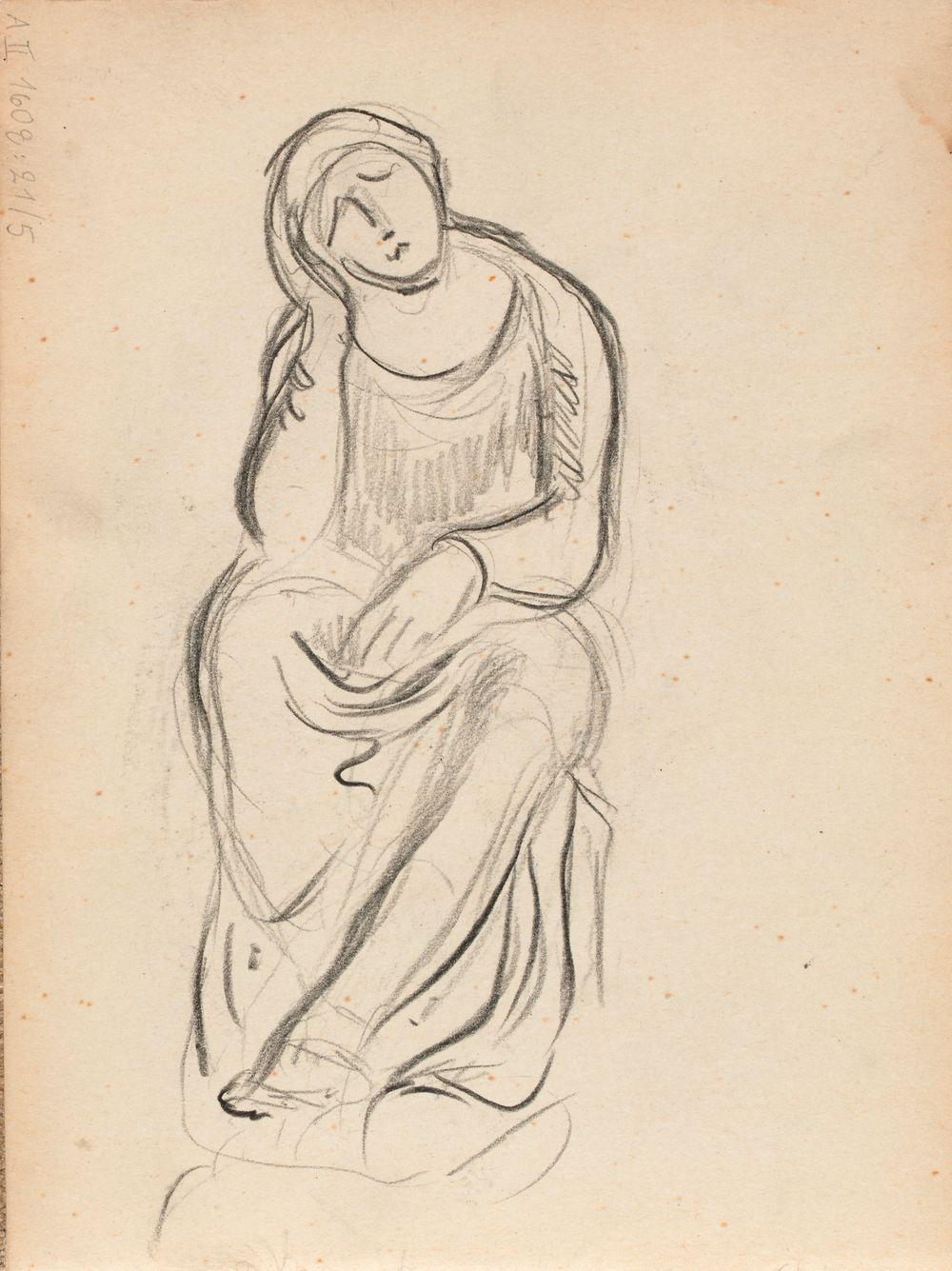 Istuva nainen edestä, luonnos (veistos)
