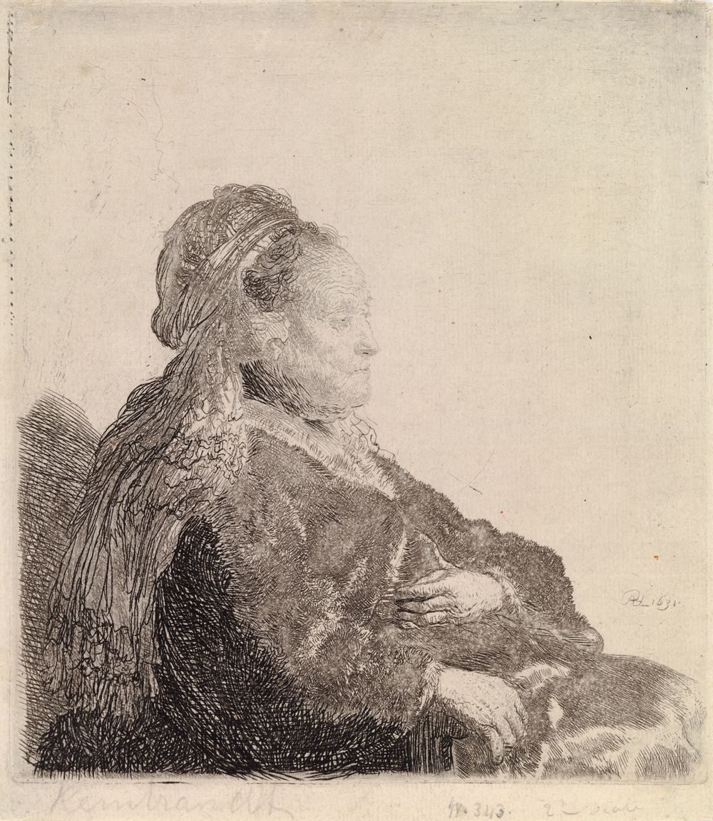 Taiteilijan äiti itämainen päähine päässään