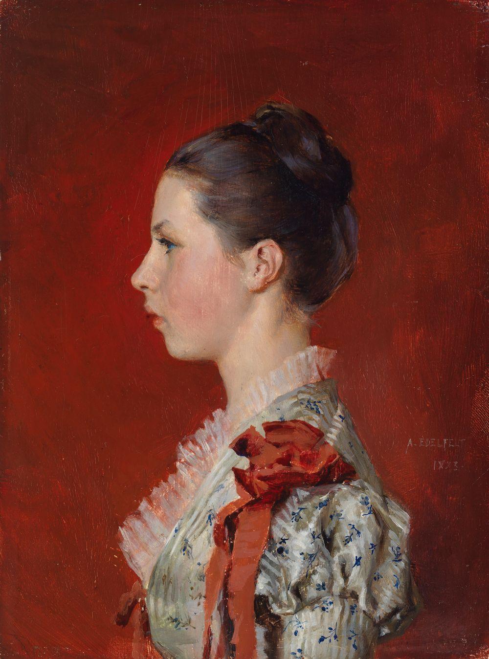 Taiteilijan sisaren Annie Edelfeltin muotokuva