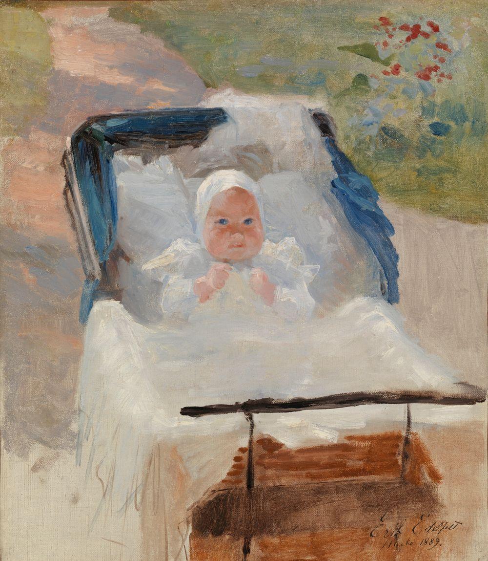 Taiteilijan poika Erik lastenvaunuissa