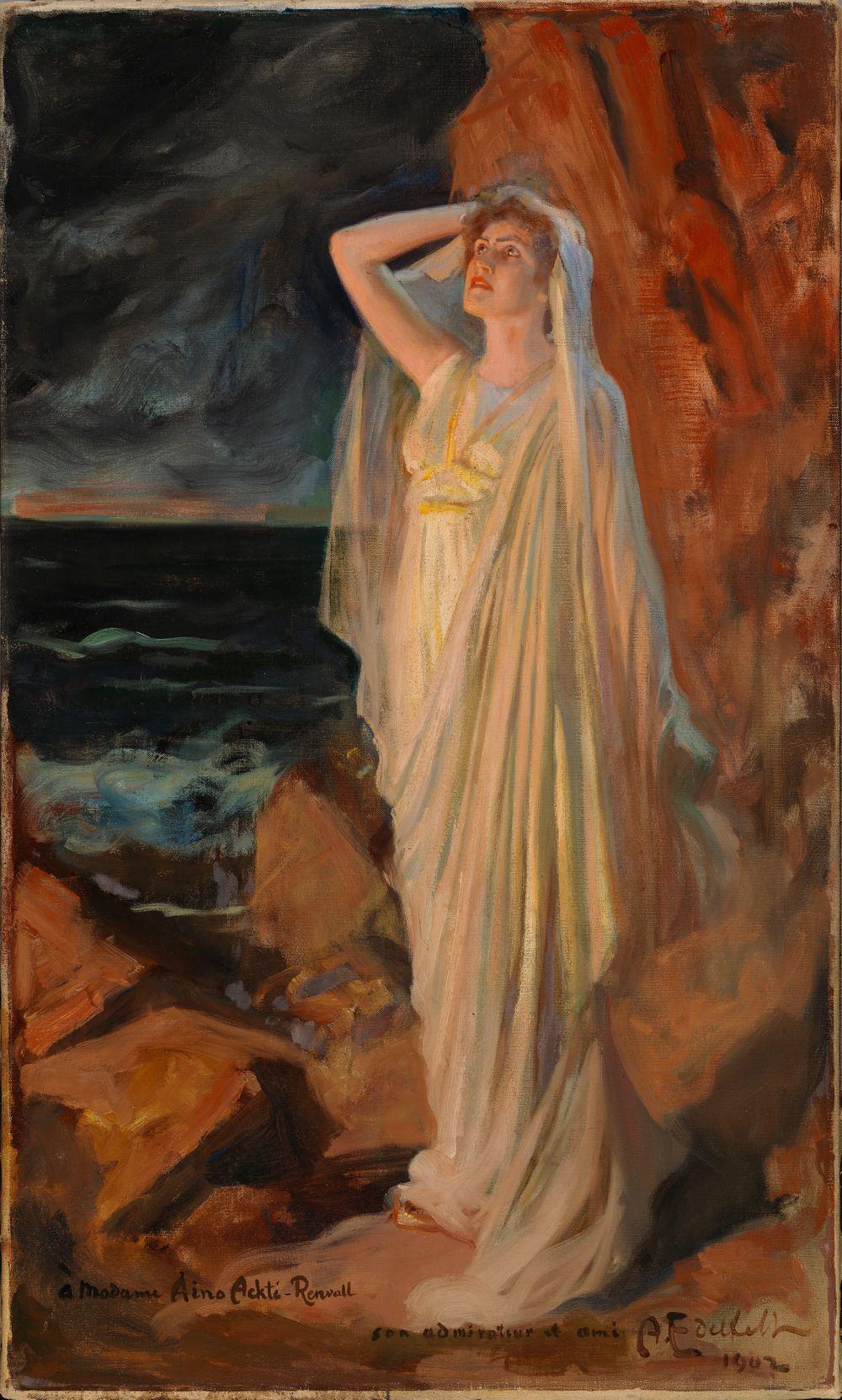 Aino Ackté Alcestena Styx-virran rannalla, roolikuva