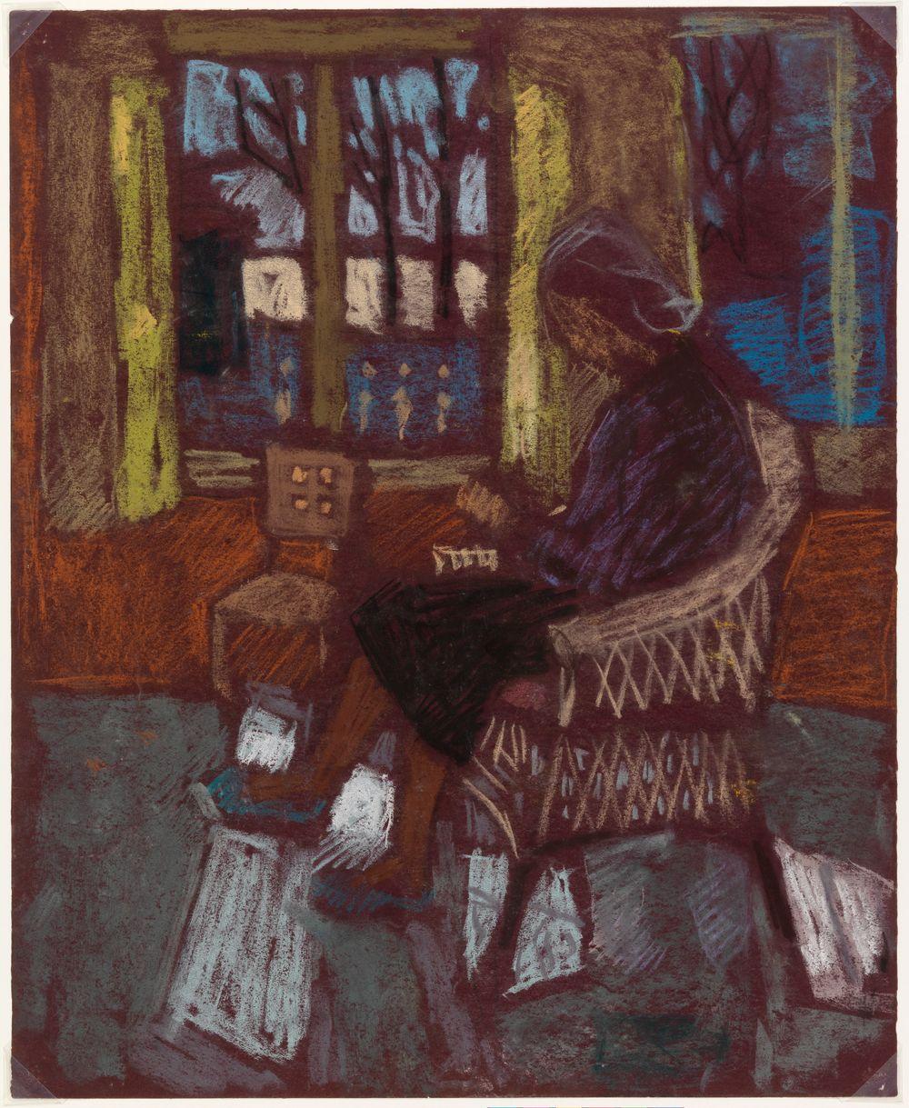 Ikkunan vieressä lukeva nainen