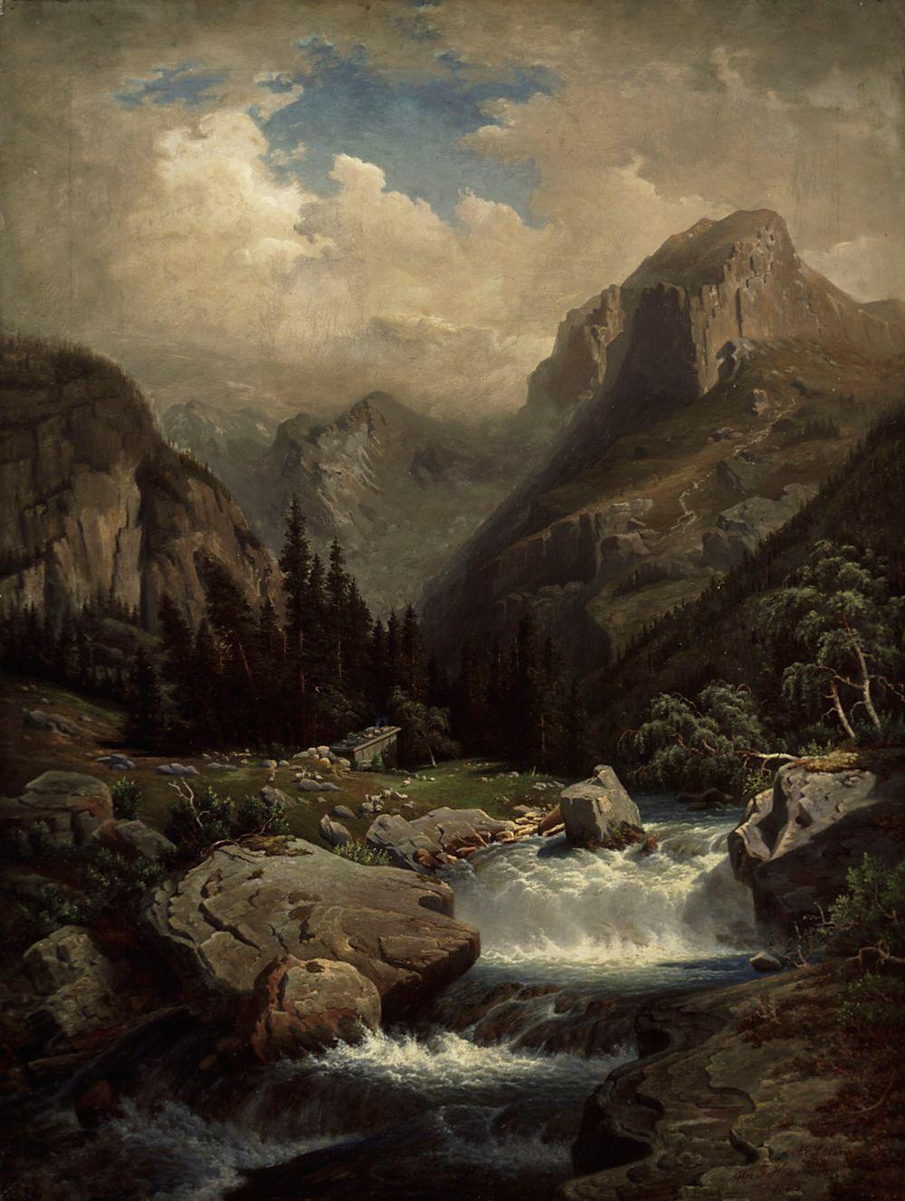 Baijerilainen vuoristomaisema, kopio Franz Hengsbachin mukaan