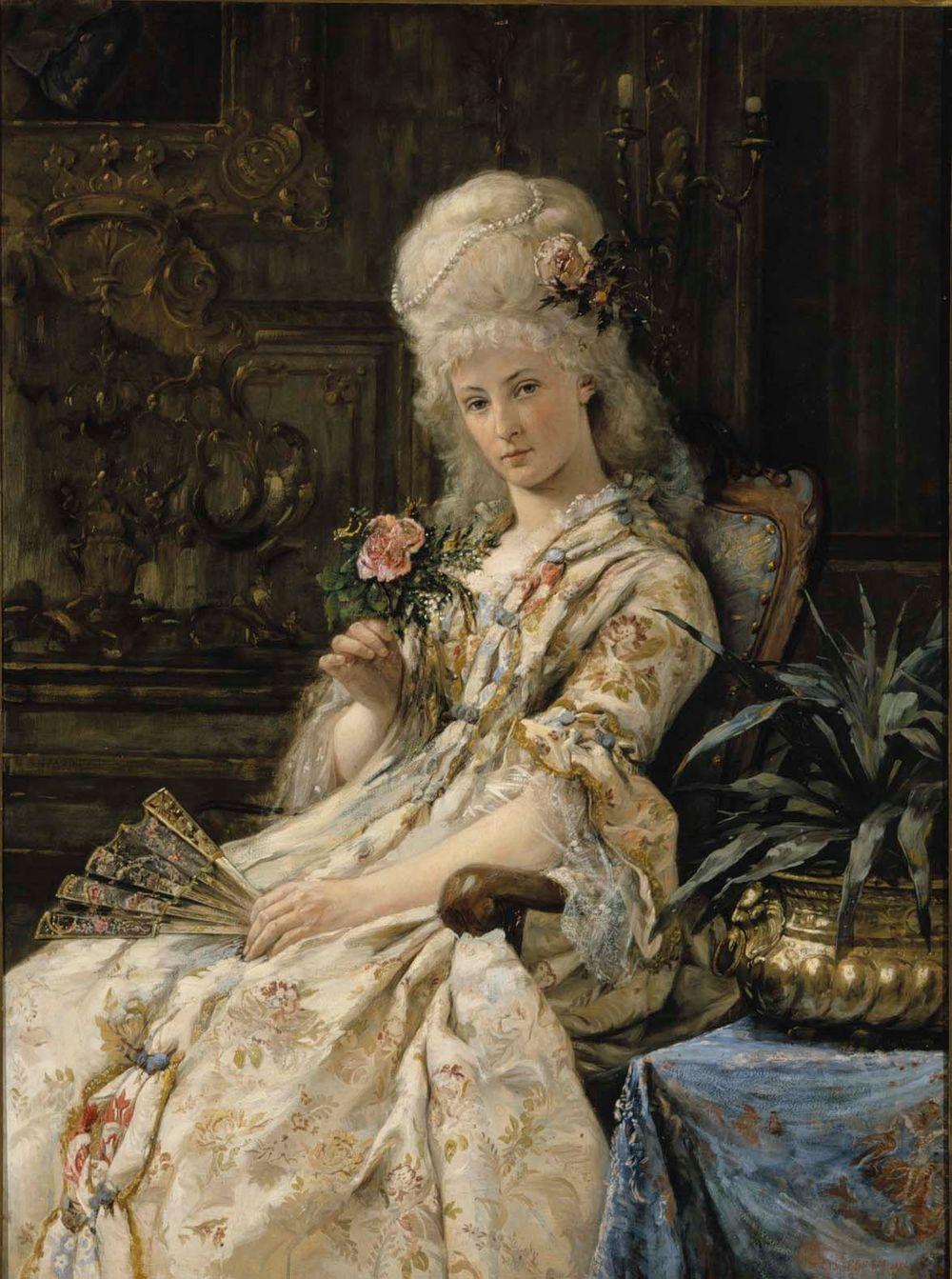 Nainen 1700-luvun puvussa (Nainen ruusu kädessä)