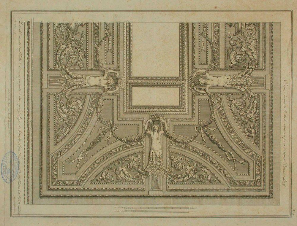 Stukkokoristeinen katto (markiisi Casnedin palatsi Milanossa)