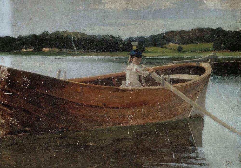 Taiteilijan sisar Berta soutuveneessä, harjoitelma