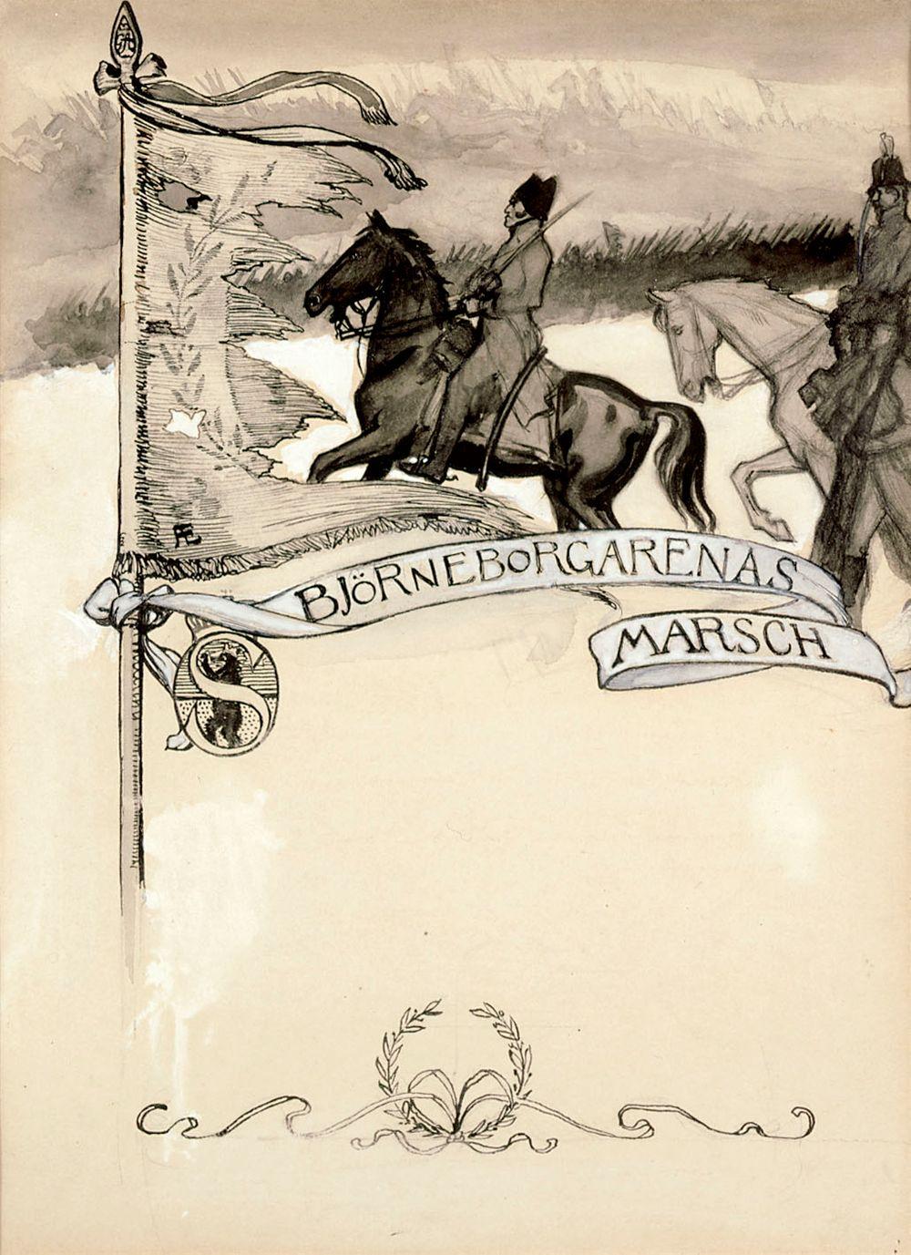 Porilaisten marssi-runon alkuvinjetin vasen puoli Originaalipiirustus Vänrikki Stoolin tarinain kuvitukseen