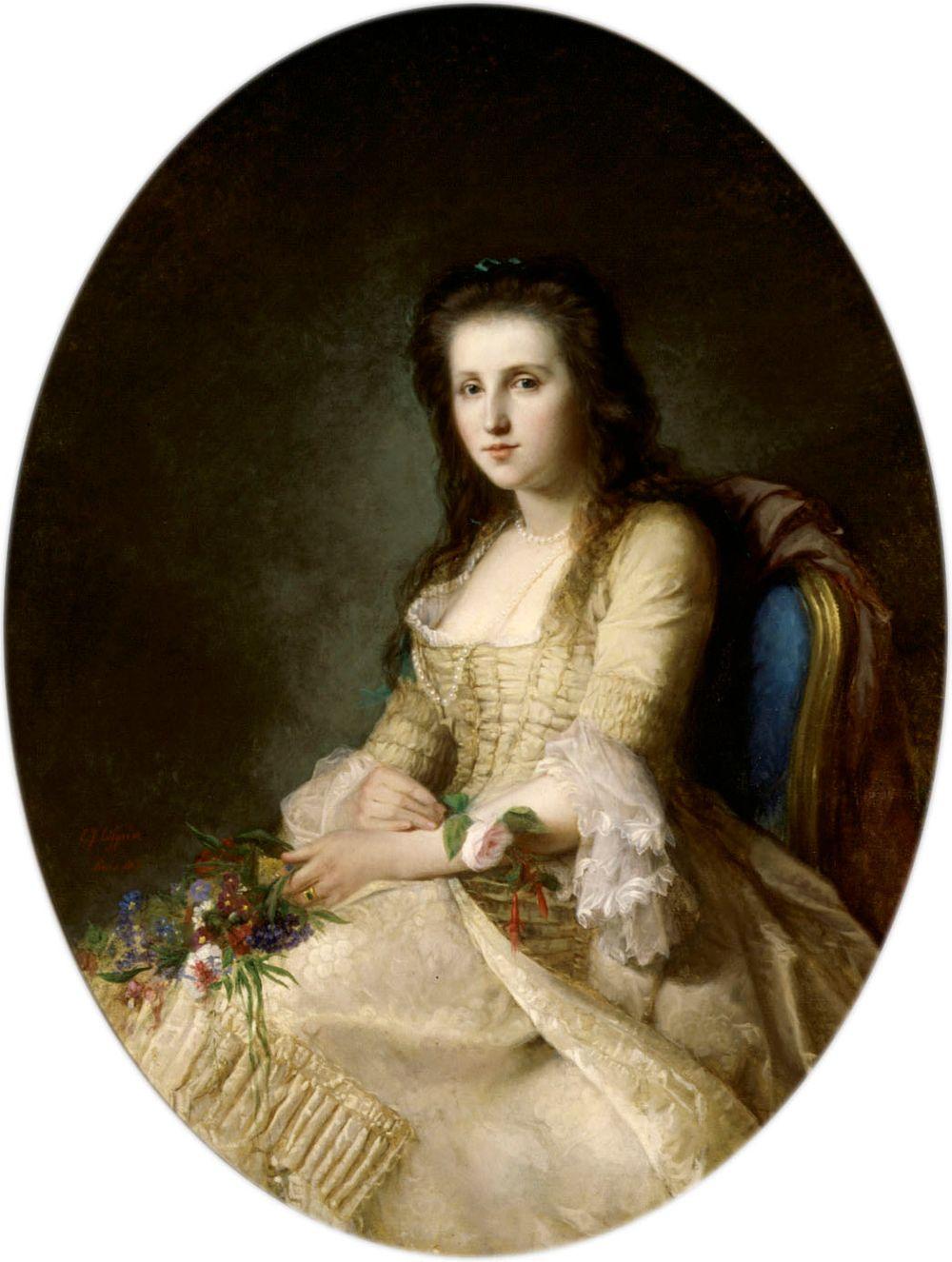 Nainen 1700-luvun puvussa (La Rêverie)