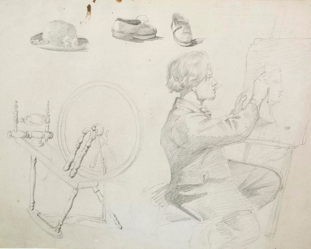 Harjoitelmat piirtäjästä telineen edessä, rukista, hatusta ja kenkäparista