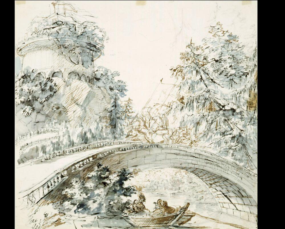 Maisema, ratsastaja sillalla