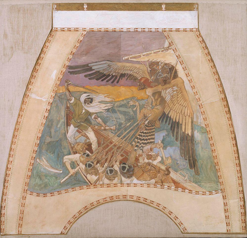 Sammon puolustus, luonnos Pariisin paviljongin kupolifreskoihin