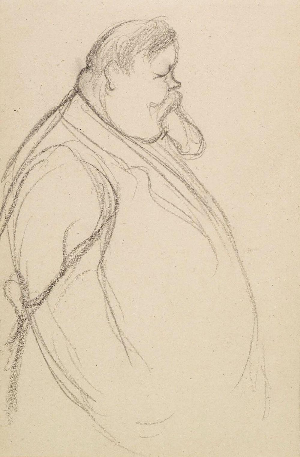 Vanhan lihavan miehen muotokuva, kokovartalo, sivukuva