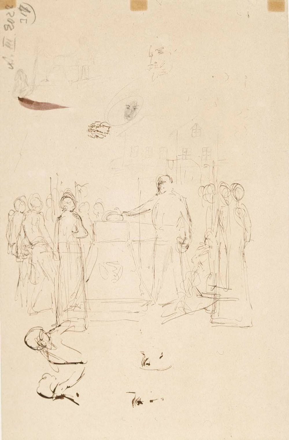 Harjoitelmia teokseen Kaarle-herttua herjaa Klaus Flemingin ruumista, Ebba Fleming ja Sigrid Stålarm ; Tois. puol. sommitteluluonnos samaan tauluun