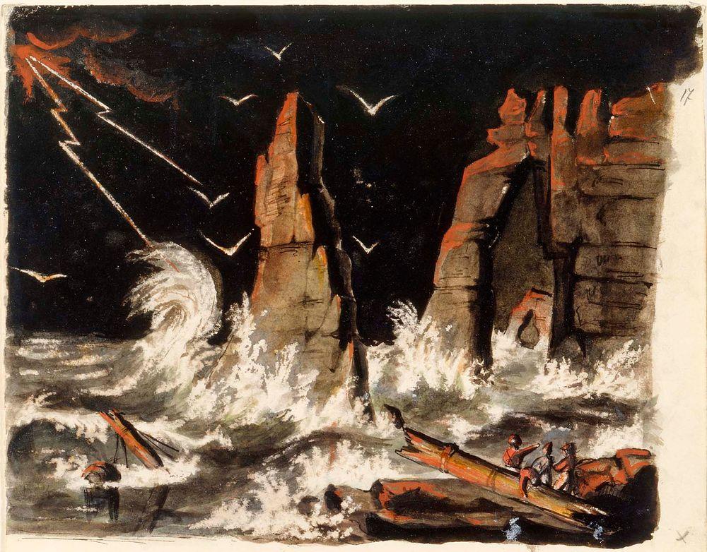 Myrskyinen merimaisema hylkyineen, keskellä jyrkkä kalliomuodostelma