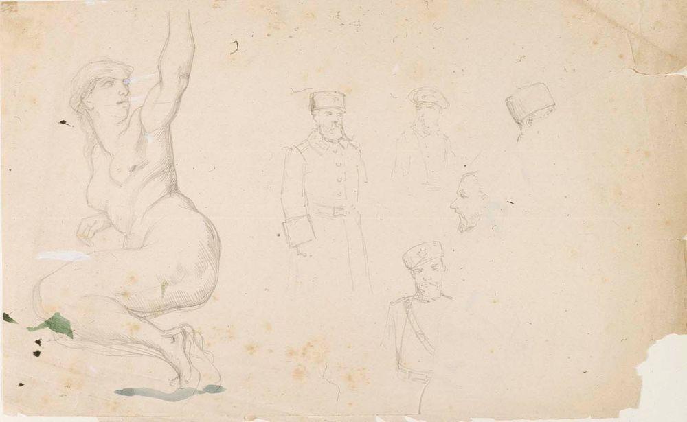 Figuuri- ja pääharjoitelmia, mm. Michelangelon Eeva poimimassa kiellettyä hedelmää