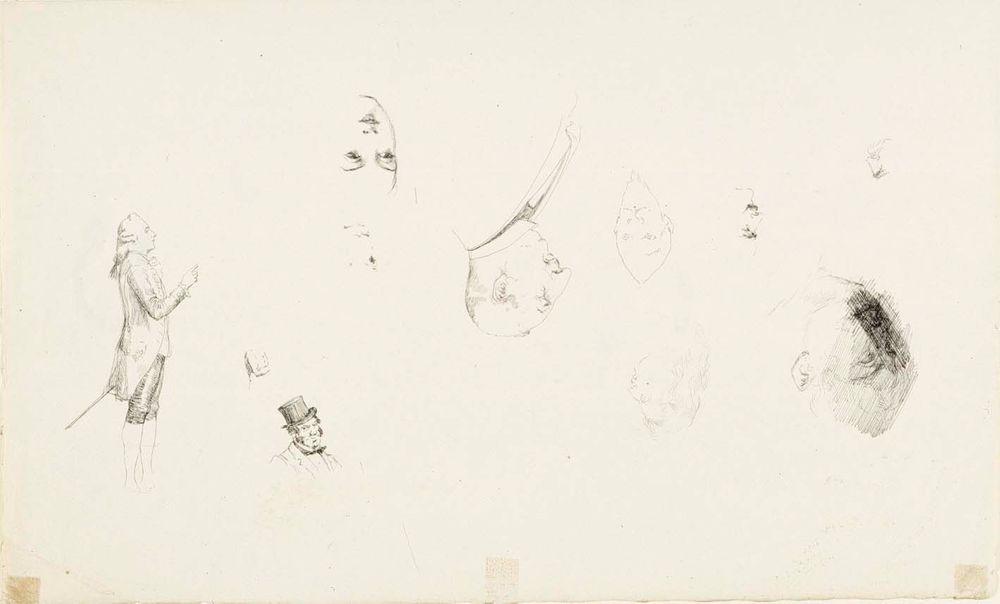 Harjoitelmia päistä molemmilla puolilla paperia, yksi kokofiguuriharjoitelma miehestä kustavilaisessa puvussa