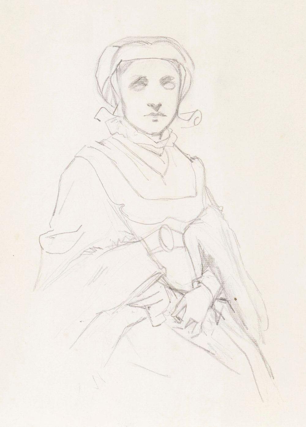 Istuva nuori nainen, renessanssipuku