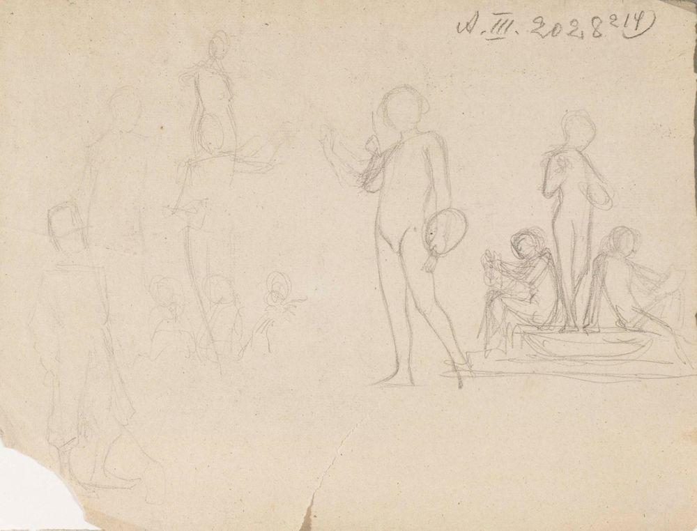 Käsi kädessä istuvat nuoret ja nuoren käsiinsä nojaavan miehen muotokuva