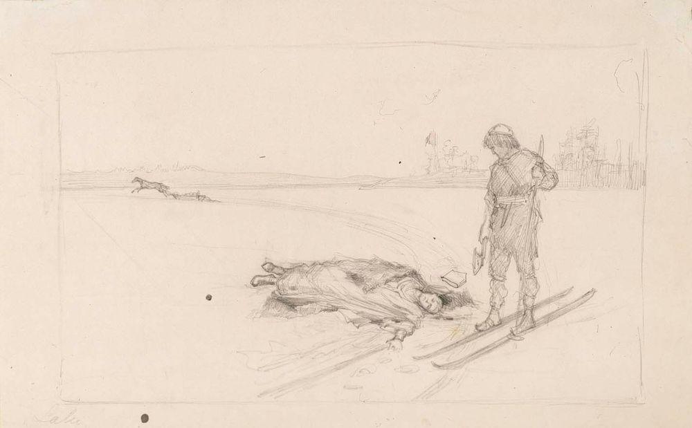 Luonnos maalaukseen Piispa Henrikin kuolema