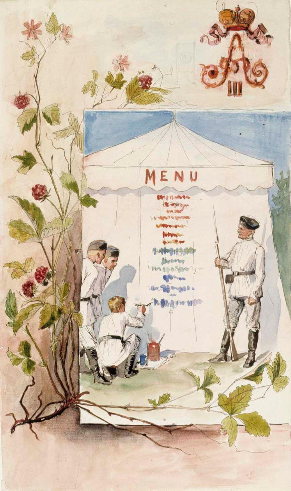 Aleksanteri III:n vierailun aikainen ruokalista, luonnos