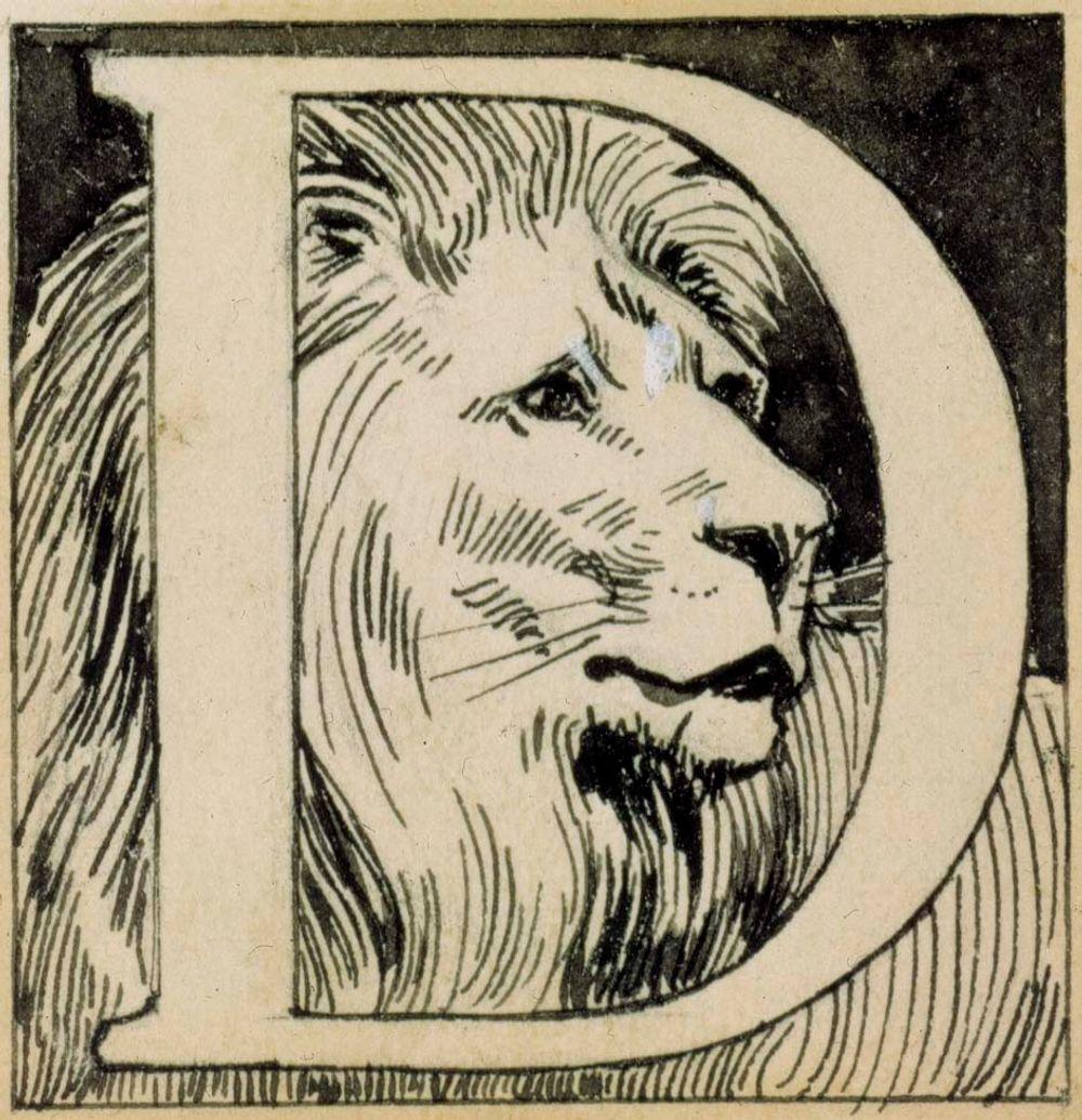Luutnantti Ziden- runon alkukirjain D. Originaalipiirustus Vänrikki Stoolin tarinain kuvitukseen