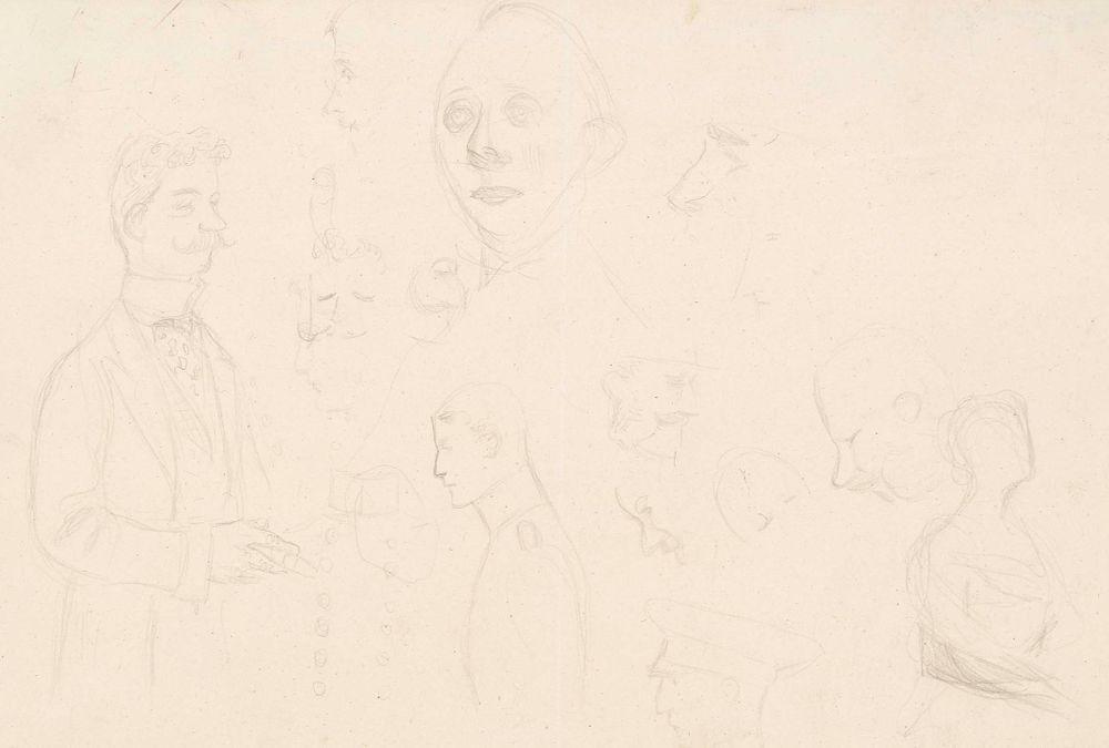 Seisova mies, puolivartalokuva, sikaari kädessä sekä kymmenkunta kasvoharjoitelmaa, mm. sotilaista