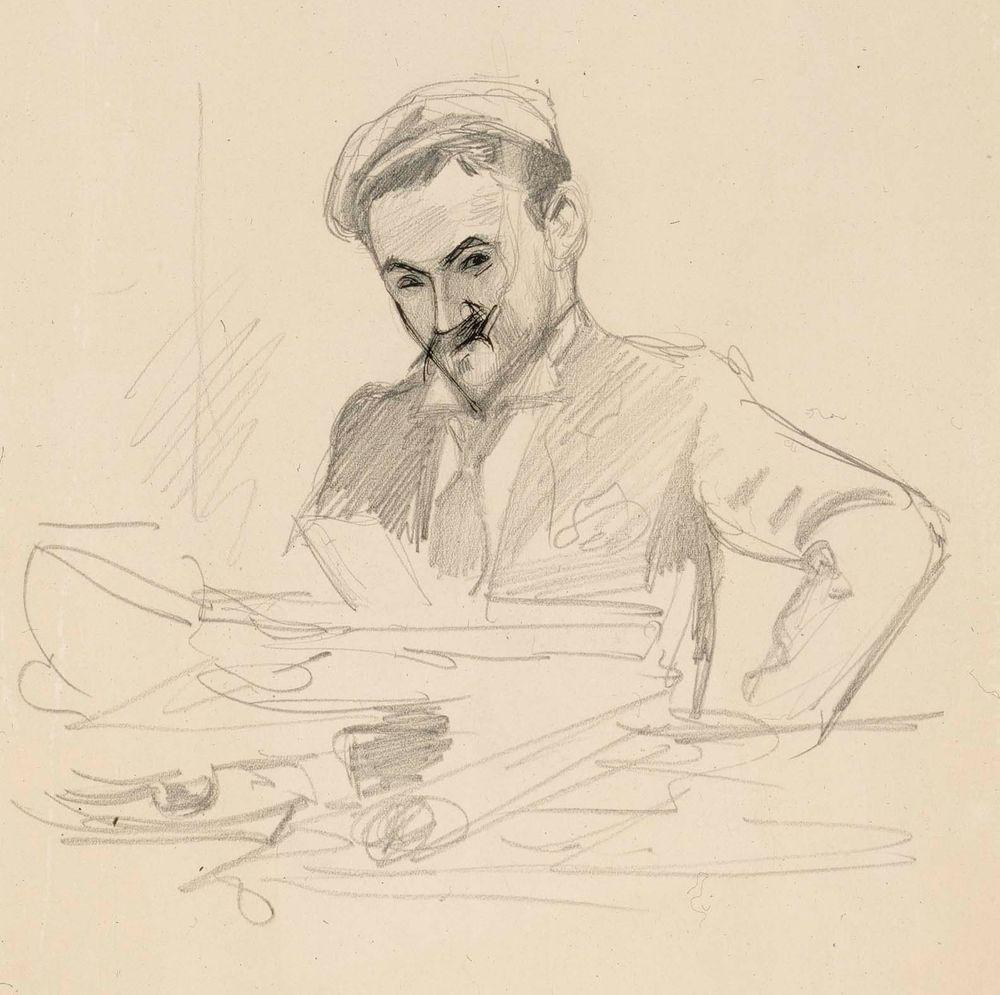 Muotokuva taiteilija, kreivi Louis Sparresta, istuva puolivartalokuva