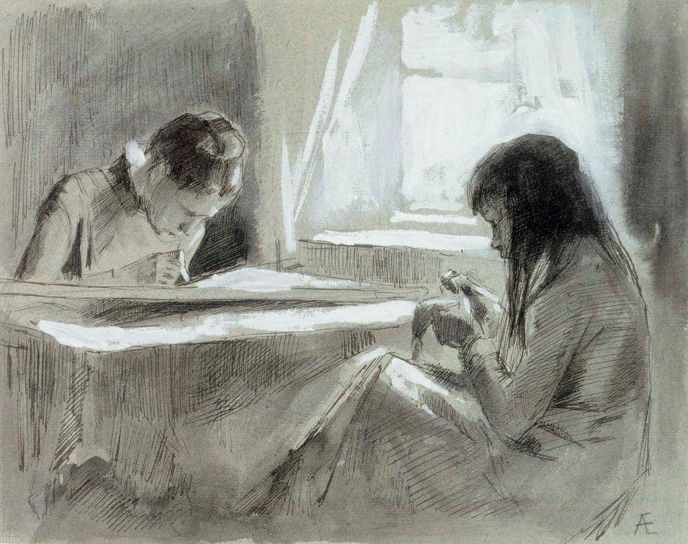 Kaksi ompelevaa tyttöä ikkunan vieressä