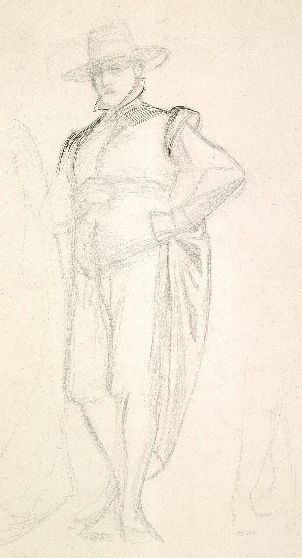 Seisova mies espanjalaisessa puvussa