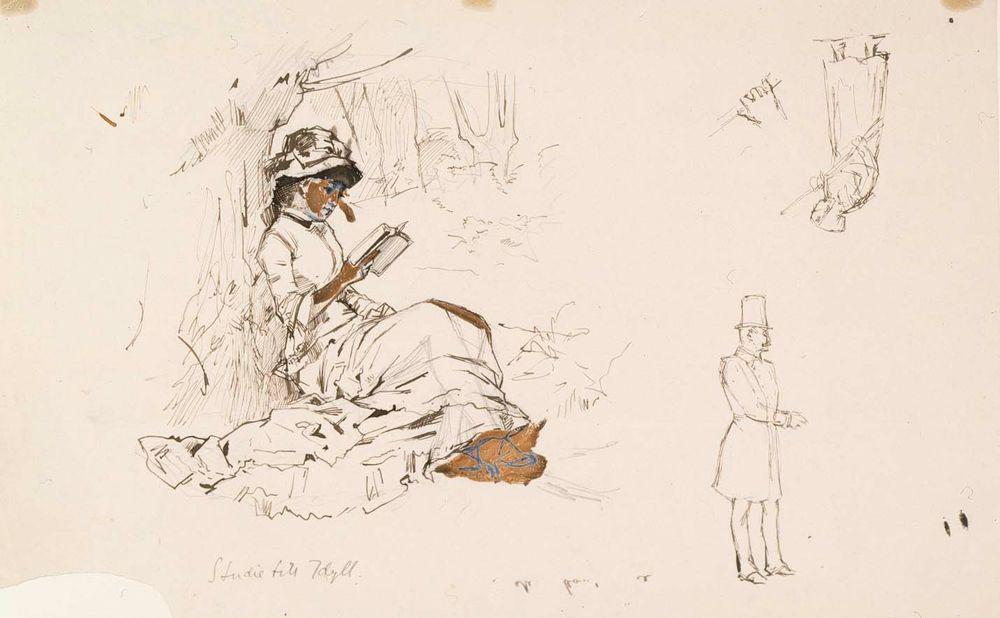 Istuva nainen, harjoitelma teokseen Koivujen alla sekä joitakin pikkuharjoitelmia