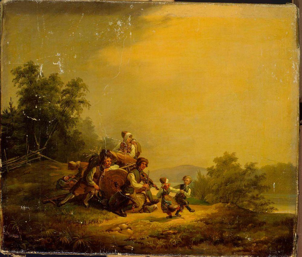 Lepääviä maalaisia ja tanssivia lapsia