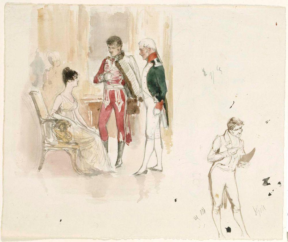 Istuva nainen ja kaksi herraa