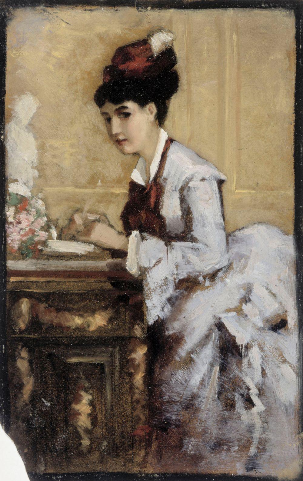 Kirjoittava nainen, sommitteluharjoitelma I maalaukseen Rokokoonainen