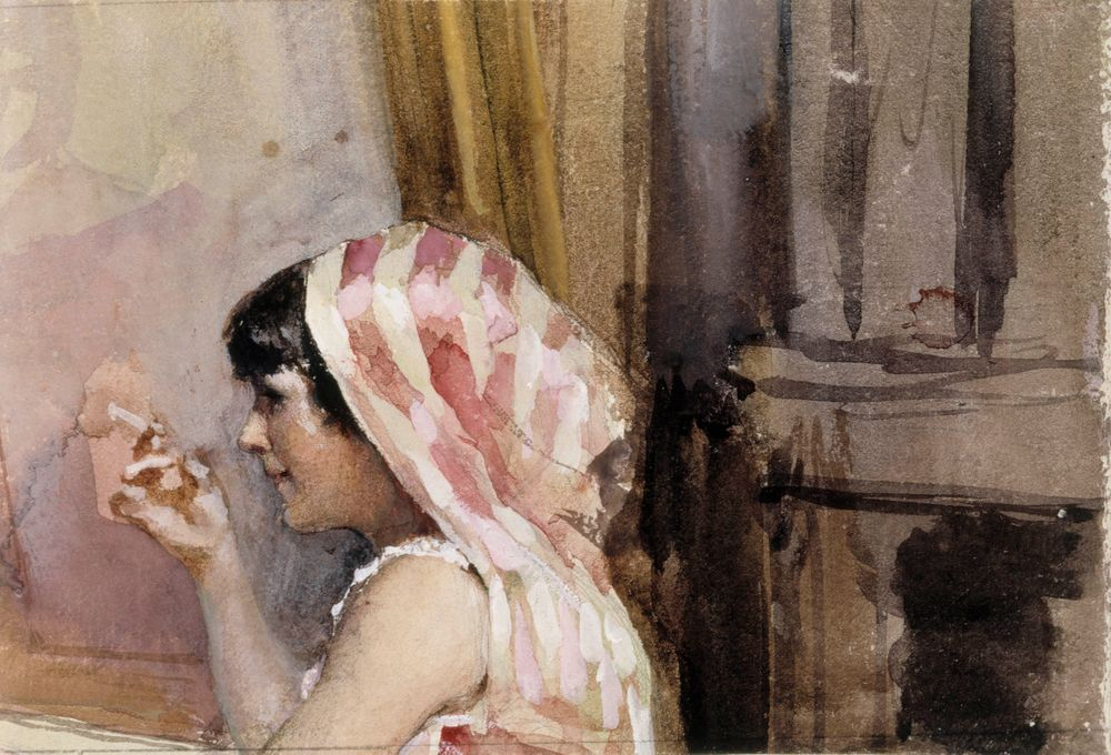 A Smoking Girl, Study from Spain