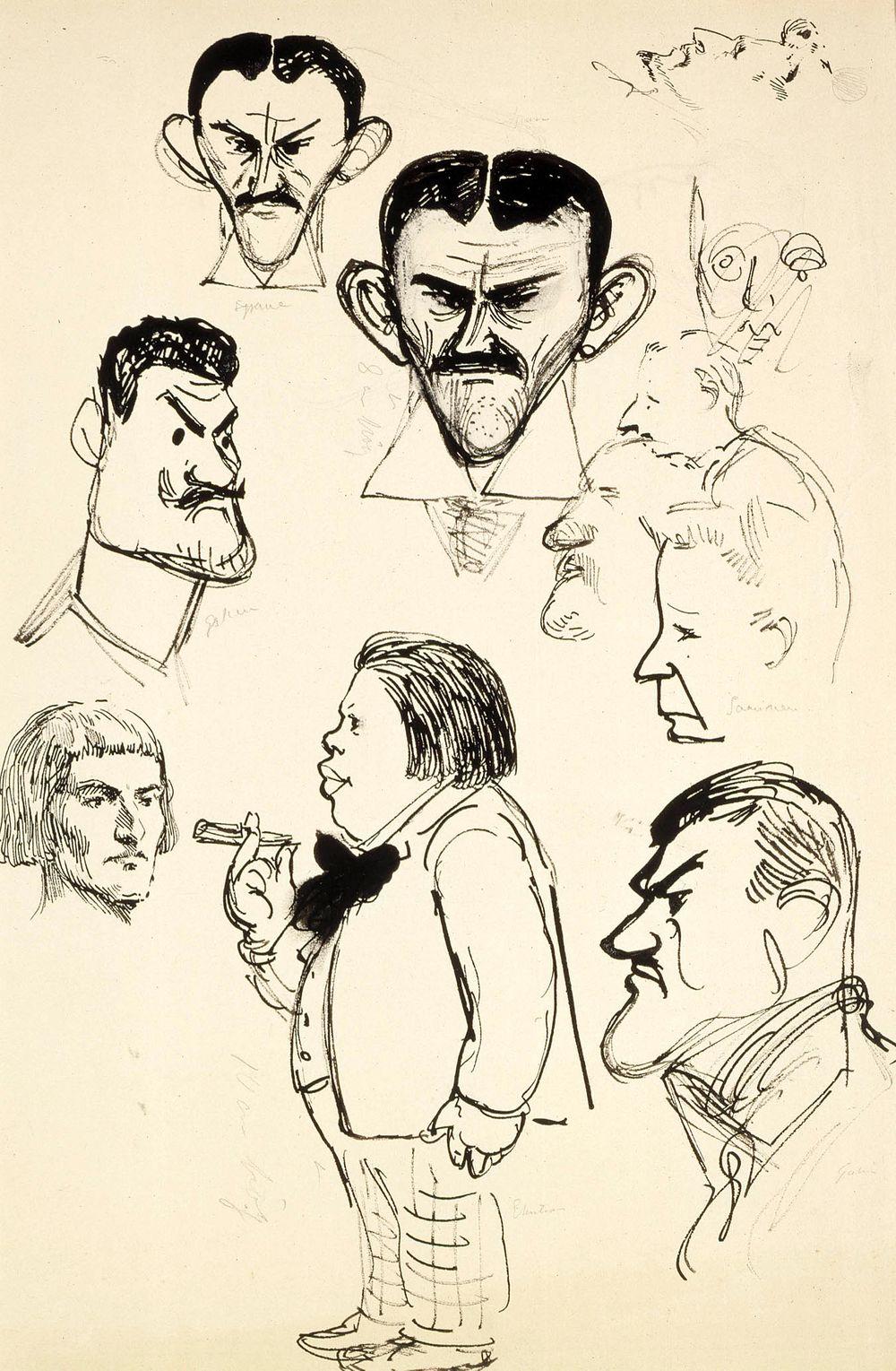 Karikatyyrit taiteilija Eric Ehrströmistä, Axel Gallenista (2 grafiikanlehteä), Louis Sparresta (2 grafiikanlehteä), Eliel Saarisesta ym.