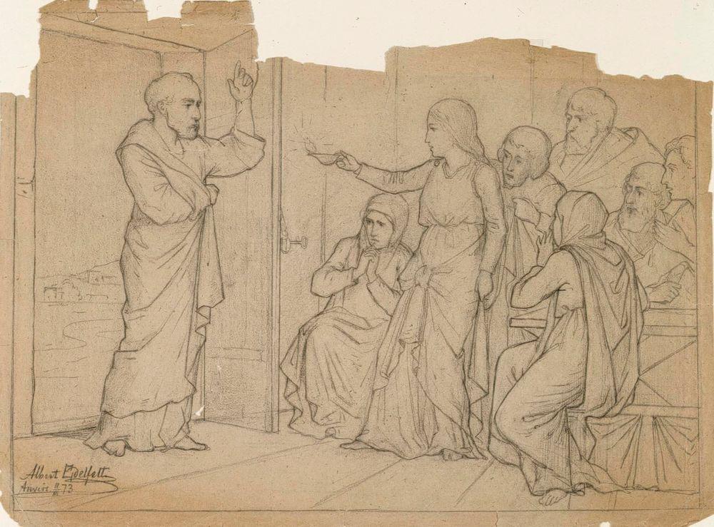 Kohtaus Neron kristittyjen vainosta, luonnos