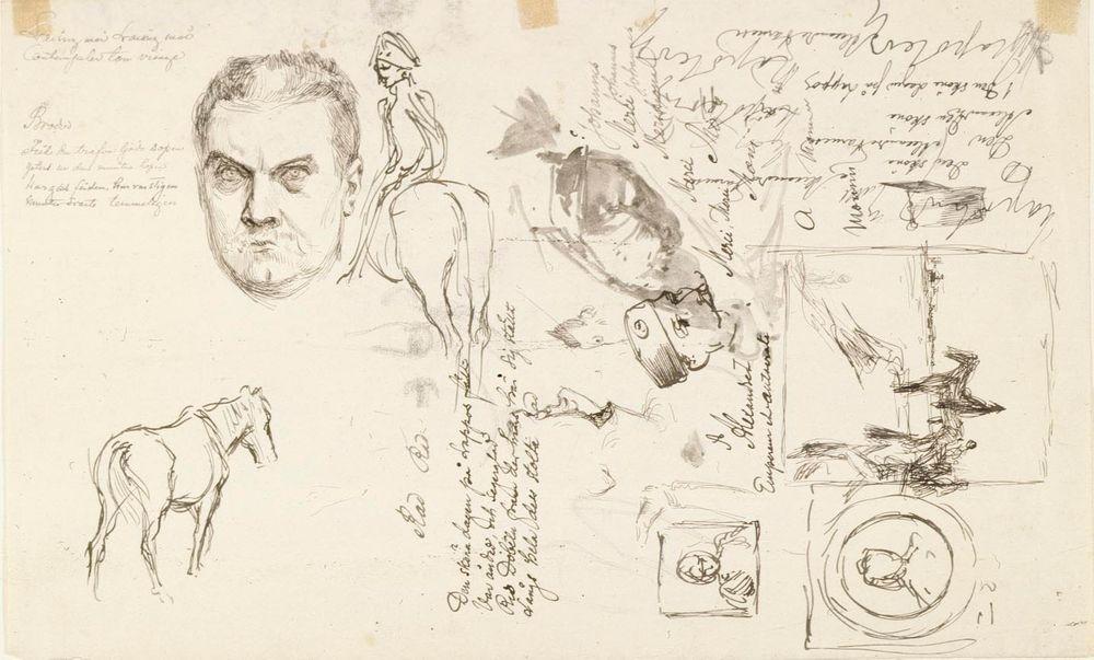 Harjoitelmia Vänrikki Stoolin tarinain kuvitukseen, Adlercreutz, omakuva ym.