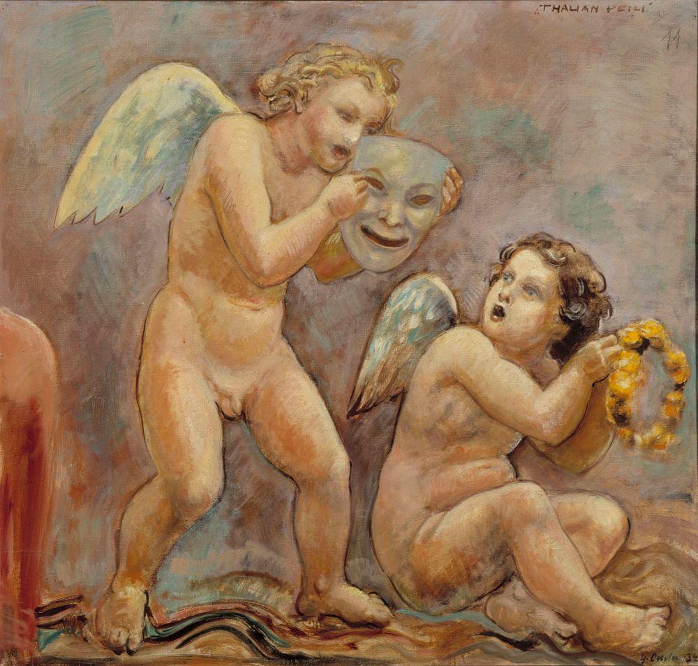 Thalian peili, Kansallisteaterin kattomaalauksen luonnos, yksityiskohta
