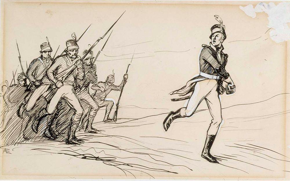 """""""Hei Vaasan poikani eespäin!"""" Luutnantti Ziden -runon alkuvinjetti"""