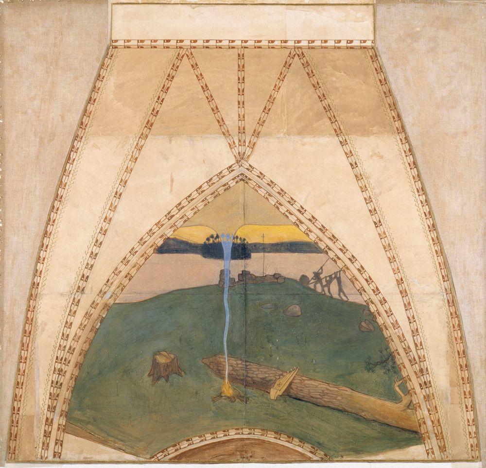 Pakanuus ja kristinusko, luonnos Pariisin paviljongin kupolifreskoihin
